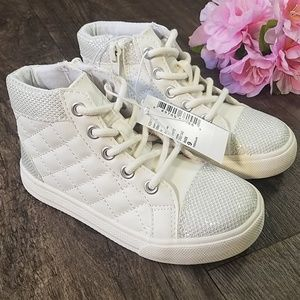 *NEW!* TCP White High Top Sparkle Woven Sneakers 9